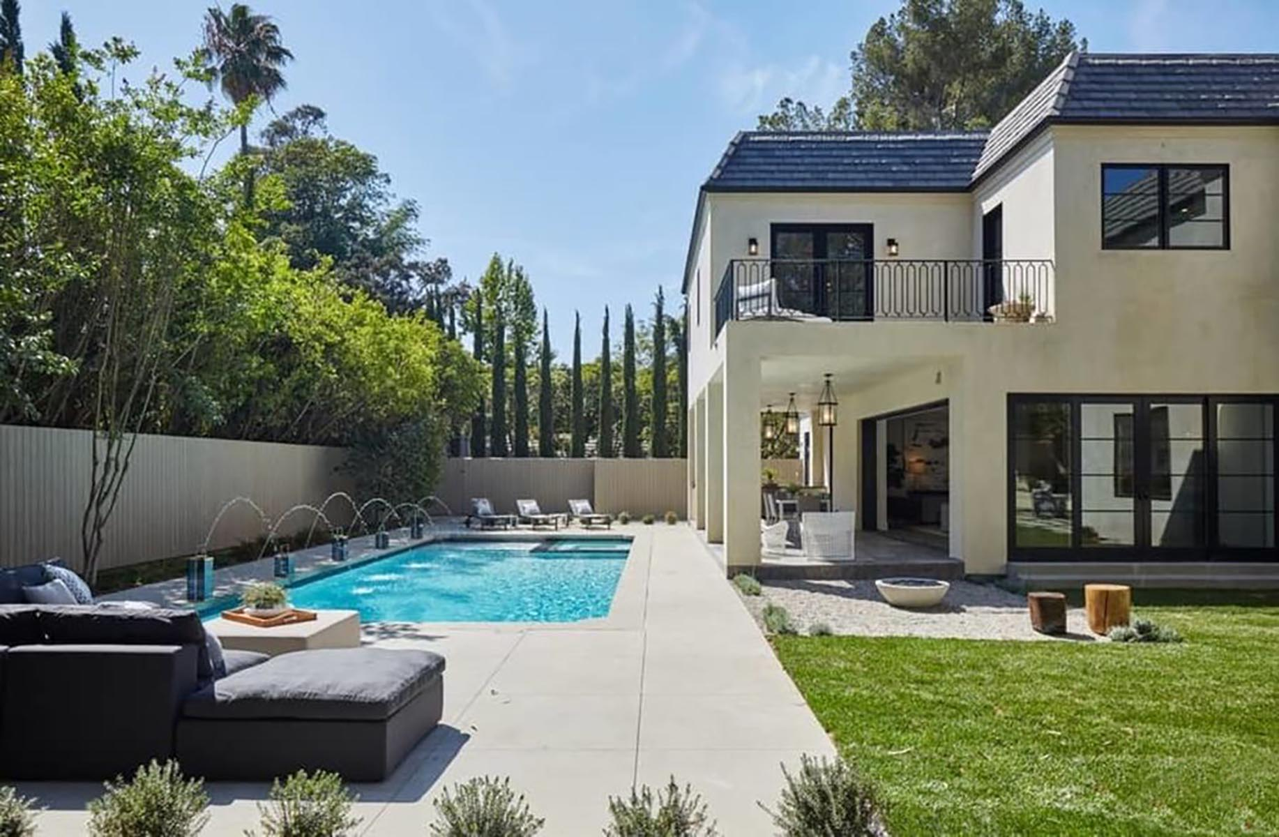 Architect home addition and remodel French contemporary style pool area
